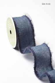May Arts - Linen w/Fuzzy Edge (wired)  - Navy/Navy