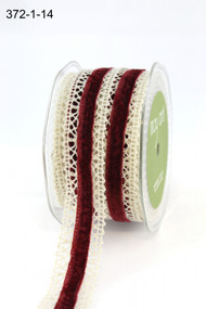 "May Arts - Crochet /Velvet Center 1"" - Ivory/Red"
