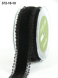 "May Arts - Crochet /Velvet Center 1.5"" - Black/Black"