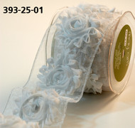 "May Arts - Sheer/Frayed Flowers (wired) 2.5""  White"