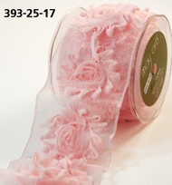 "May Arts - Sheer/Frayed Flowers (wired) 2.5"" - Pink"