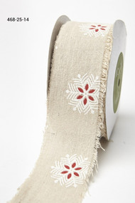 "May Arts - Cotton Blend 2.5"" - Red/White Snowflakes"