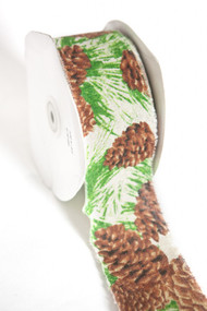 "May Arts - Cotton Blend 2.5"" - Green/Brown Pinecones"