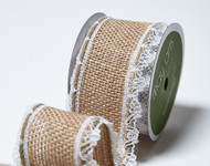 """May Arts - Wired Burlap w/Lace Edge 1.5"""" -  Natural"""