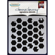 Donna Downey Stencil 8.5 x 8.5 - Honeycomb Splatter (DD-033)