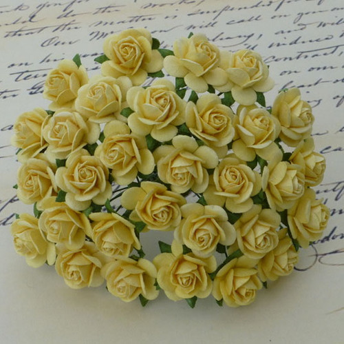 Wild Orchid Crafts 25 mm Yellow Open Rose