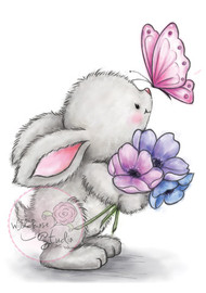 Wild Rose Studio Clear Stamp - Bunny and Butterfly (CL463)