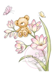 Wild Rose Studio Clear Stamp - Bear on Flowers (CL484)