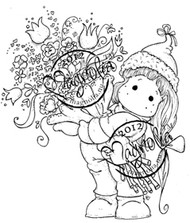 Magnolia Rubber Stamp TILDA WITH A BIG BOUQUET