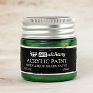 Prima Marketing - Art Alchemy-Acrylic Paint - Metallique Green Olive 1.7oz (PM-963163)