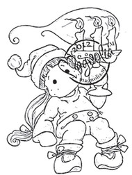 Magnolia Rubber Stamp TILDA WITH A CHRISTMAS CANDLE