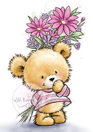 Wild Rose Studio Clear Stamp - Teddy With Flowers