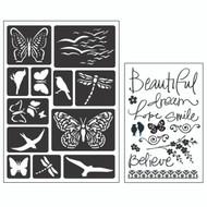ArtC Adhesive Stencil Set - Butterflies & Birds (26881)