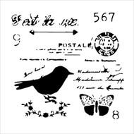The Crafters Workshop 6 x 6 Stencil - Chickadee Post (TCW630)