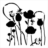 The Crafters Workshop 6 x 6 Stencil - Poppy Garden (TCW628)