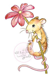 Wild Rose Studio Clear Stamp - Mouse and Flower (CL494)