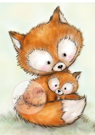 Wild Rose Studio Clear Stamp - Mummy Fox and Baby (CL492)