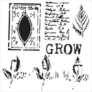 The Crafters Workshop 6 x 6 Stencil - Grow Page (TCW531)