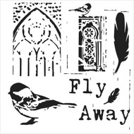 The Crafters Workshop 6 x 6 Stencil - Flyaway (TCW526)