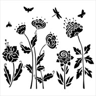 The Crafters Workshop 6 x 6 Stencil - Flying Garden (TCW513)