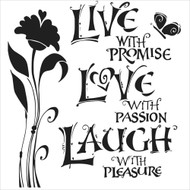 The Crafters Workshop 6 x 6 Stencil - Live, Love & Laugh (TCW467)