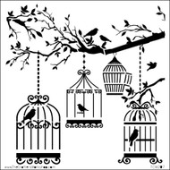 The Crafters Workshop 6 x 6 Stencil - Birds Of A Feather (TCW207)