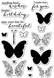Poppystamps - Ornamental Butterflies - Clear Stamp Set (PS-CL429)