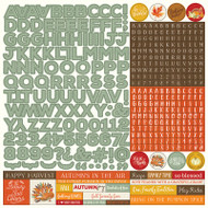 Photoplay - Falling Leaves - 12 x 12 Alpha Sticker Sheet