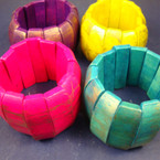 "1.50"" Wide Wood Bracelet Bright Colors Brushed Look .54 ea"