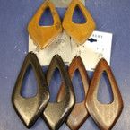 "3"" Diamond Shaped Wood Earring Browns/Black .54 ea"