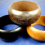 "1.5"" Chunky Wood Bangle Bracelet Woodtones & Black .56 ea"