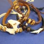 Braid Cord Bracelet w/ Wood Bead & Real Shark Tooth Browns/Blk .60 ea