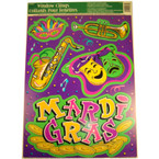 "12"" X 17"" Mardi Gras Window Cling 12 per pack"