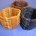 "2"" Wide Multi Line Wood Stretch Bracelet Browntones & Black .54 ea"