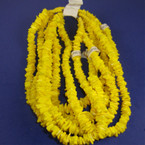 "16"" All Yellow Chipped Shell Necklace 12 per pk"