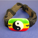 Teen Leather Bracelet w/ Rasta Color Ying Yang .50 ea
