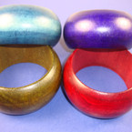 "1.5"" Wide Chunky Wood Bangle Bracelet Fall Colors .56"