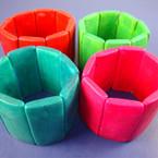 """2.25"""" Wide Wood Stretch Bracelet 6 Asst Colors .54 ea"""