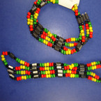 "35"" Magnetic Necklace/Bracelet Wood Bead Rasta Colors"