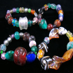 Fashionable Glass Beaded Stretch Bracelet  GREAT VALUE .56 ea