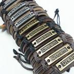 Teen Leather Bracelet w/ Dream Plaque .54 EACH