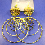 "4"" Big Gold Fashion Earring w/ DBL Hoops .45 EACH"