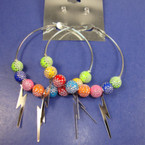 "2.5"" Silver Hoop Earring w/ Stone Look Beads & Dangle Bolts .25 EACH PR"