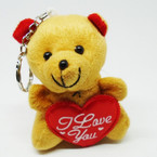 "3.5"" Plush Bear Keychain w/ I Love You Heart Brown/Red Heart .54 ea"