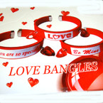 Silk Red Cuff Love Bangles w/ Dangle Red Hearts 24 per display bx .54 ea