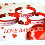 Silk Red Cuff Love Bangles w/ Dangle Red Hearts 24 per display bx .54 ea