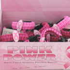 Pink Ribbon Theme Paracord Bracelet 24 per display .85 EACH
