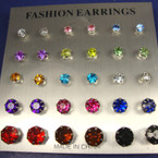 15 Pair Asst Colors Stone Stud Earrings Asst Sizes  .50 per set