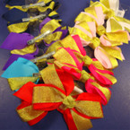 "5"" Gro Grain & Gold Sparkle Bow on Gator Clip  .50 ea"