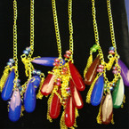"20"" Gold Chain Neck Set w/ Dangle Lg. Colorful Beads & Chains .56"